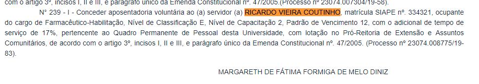 Portaria de aposentadoria de Ricardo Coutinho (Reprodução Imprensa Nacional)