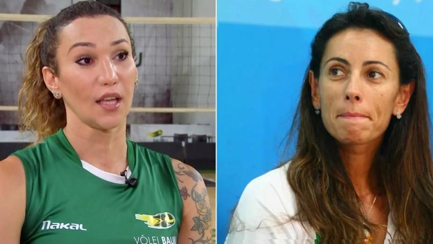 A jogadora Tiffany e a ex-jogadora Ana Paula (Foto: Arte / Lance! )